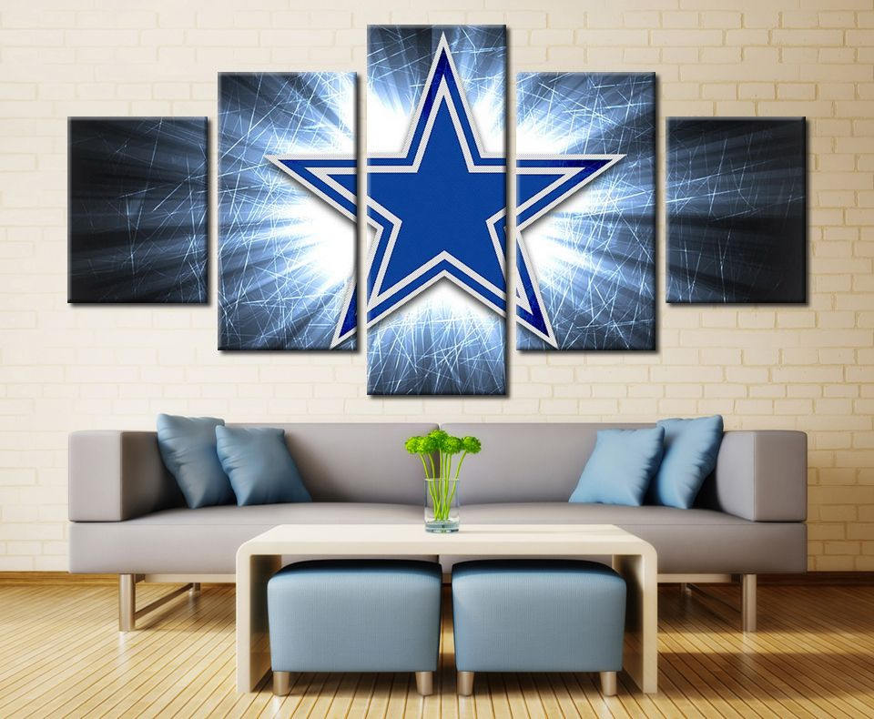 5 Piece Canvas Print Dallas Cowboys Logo Poster Cuadros Decoracion ...