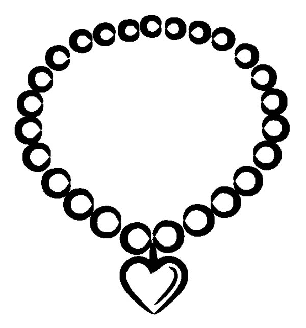 Valentine Heart Necklace Jewelry Coloring Page Coloring Sky Valentine Heart Necklace Big Pearl Necklace Black Jewelry