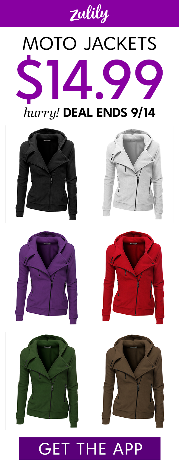 Install the app and shop hooded fleece moto jackets for