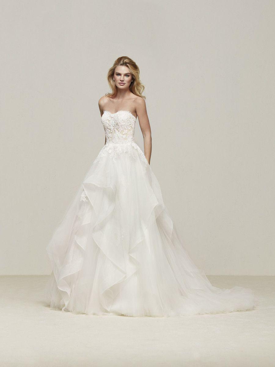 884792e89 Vestido de novia palabra de honor encaje - Draval