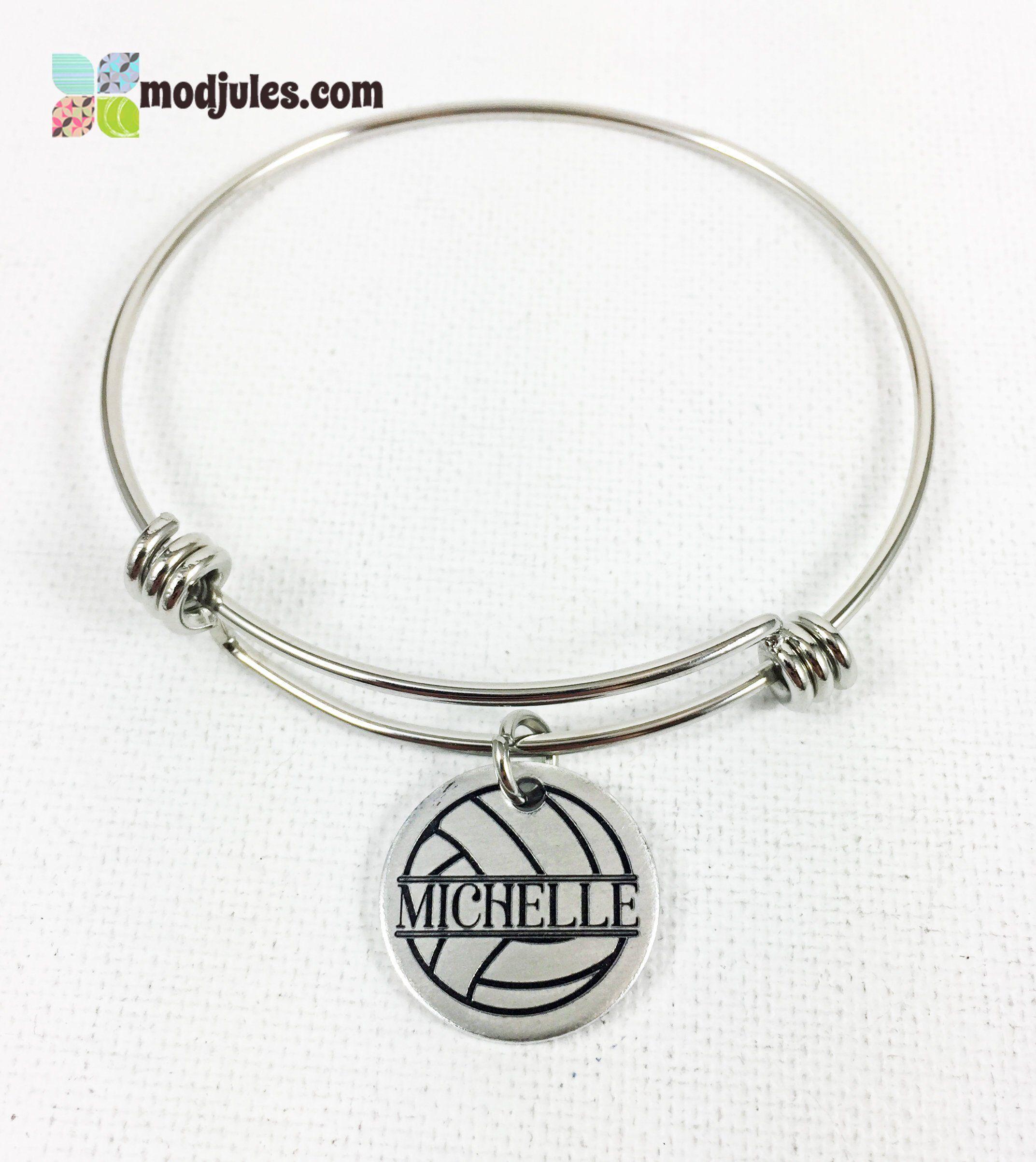 Personalized Volleyball Bracelet Personalized Volleyball Bangle Name Charm Gift For Volleyball Player Volleyba Wire Bangle Bracelets Wire Bangles Bracelets