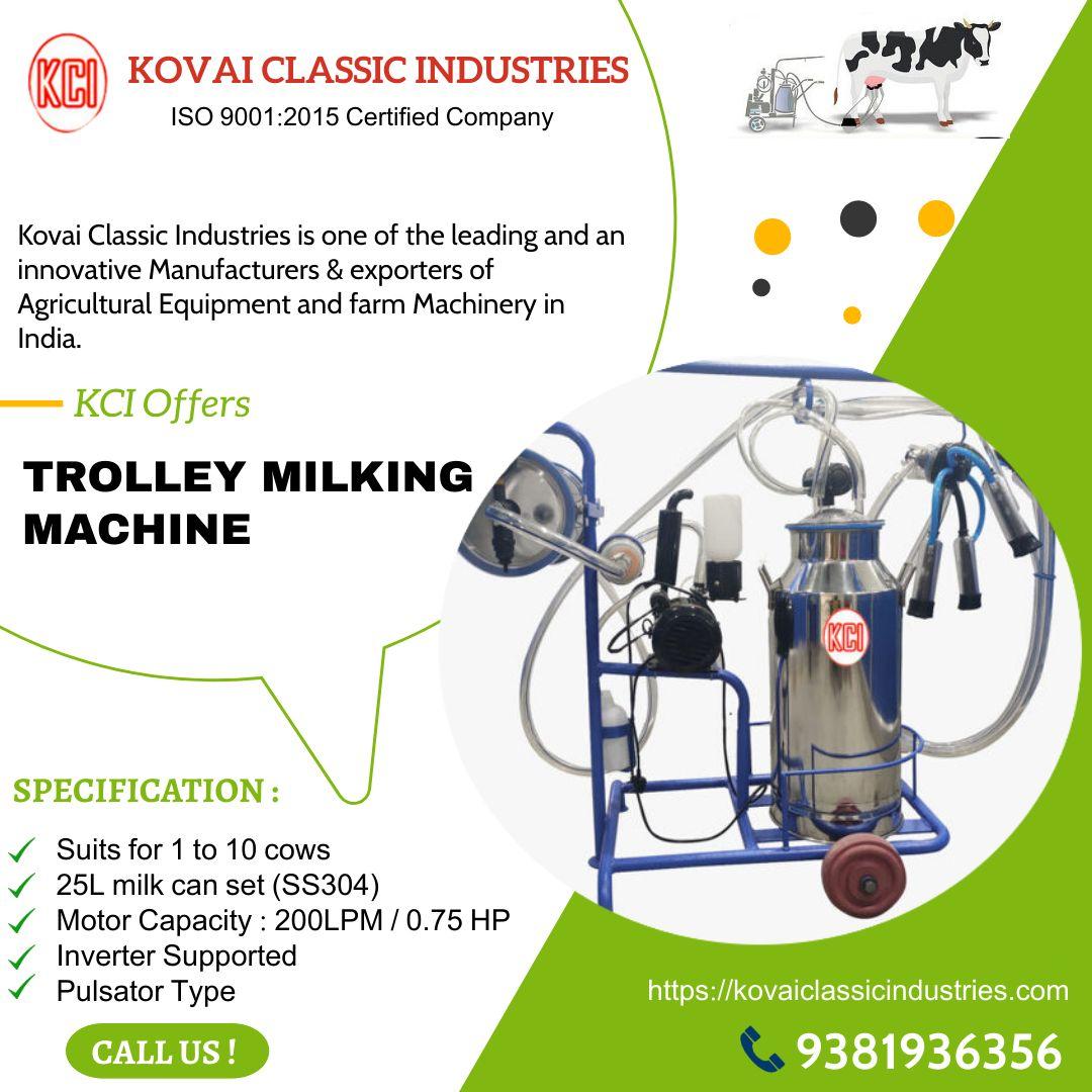 Trolley Milking Machine Kovai Classic Industries In 2020 Farm Machinery Machinery Classic