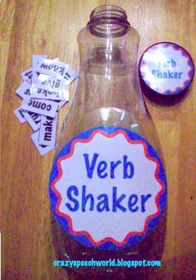 verb shaker - cool idea! for the littles, could use as a whole group activity. someone read a word, someone put it into a sentence? maybe?