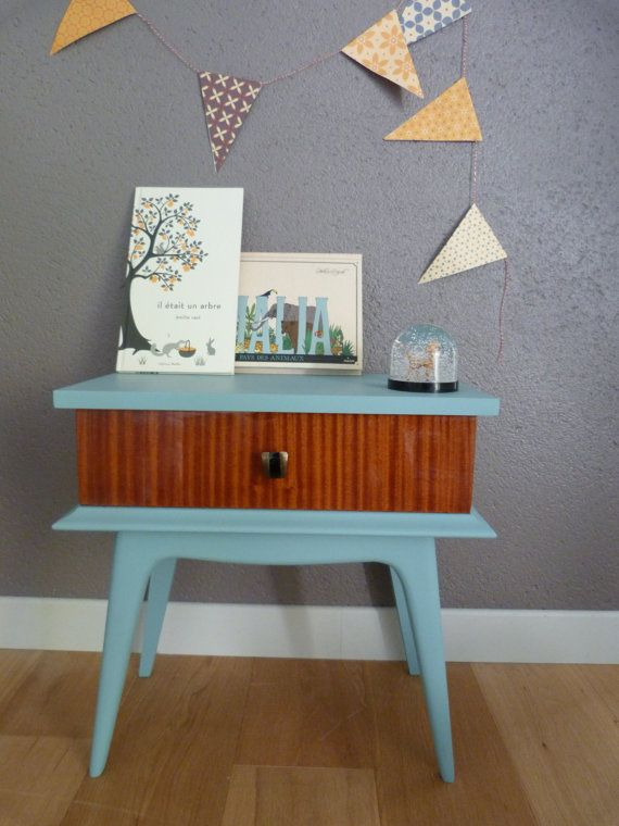 Retro Style Container Bedside Table: Bedside, Night Table, Years 50-60, Model Colombine