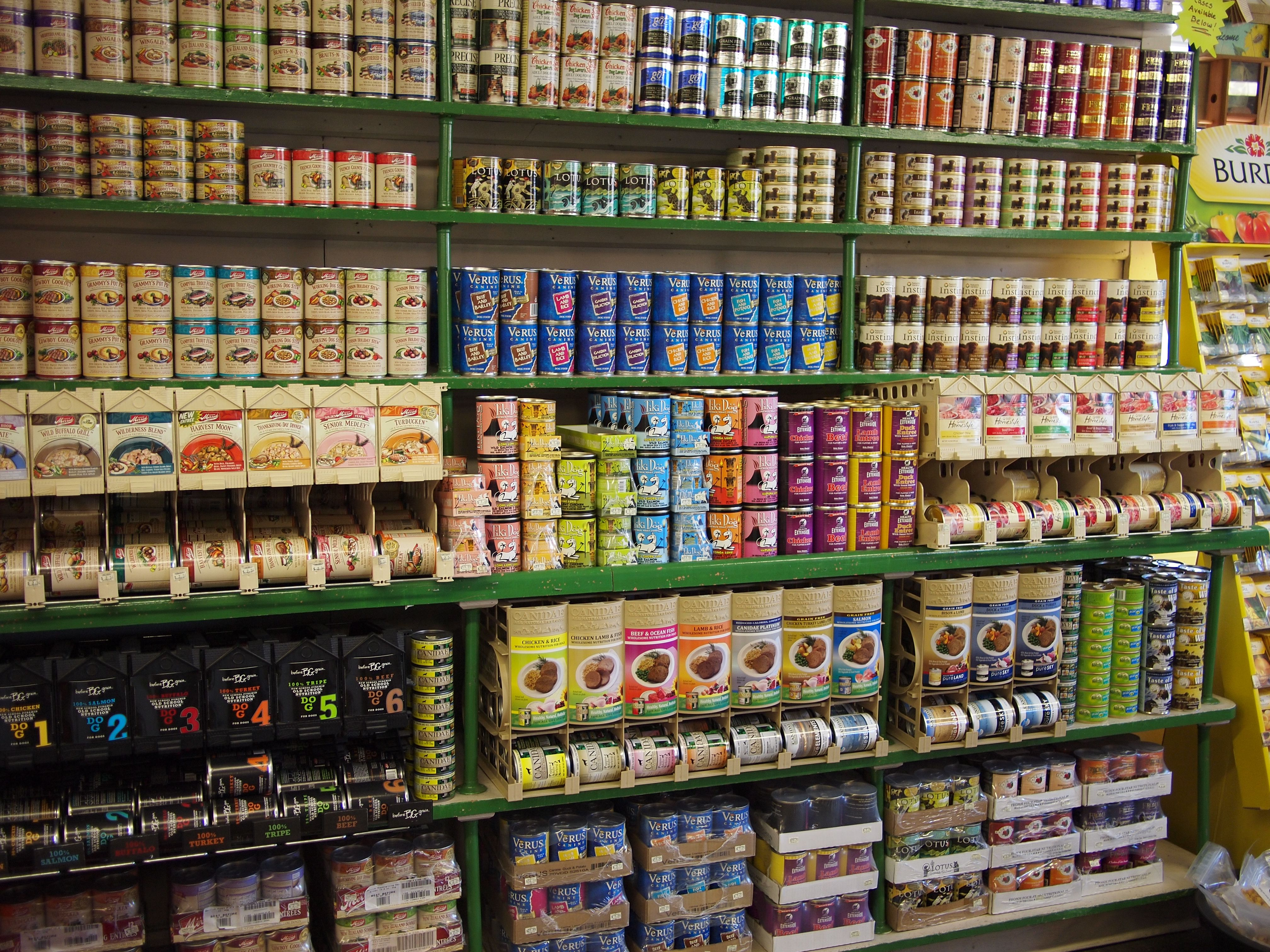 Daminger's canned food wall display Food animals