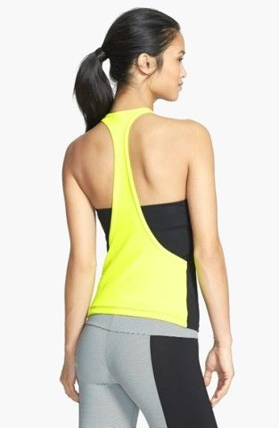 Caelum 'Skyler' Colorblock Mesh T-Back Shelf Bra Tank