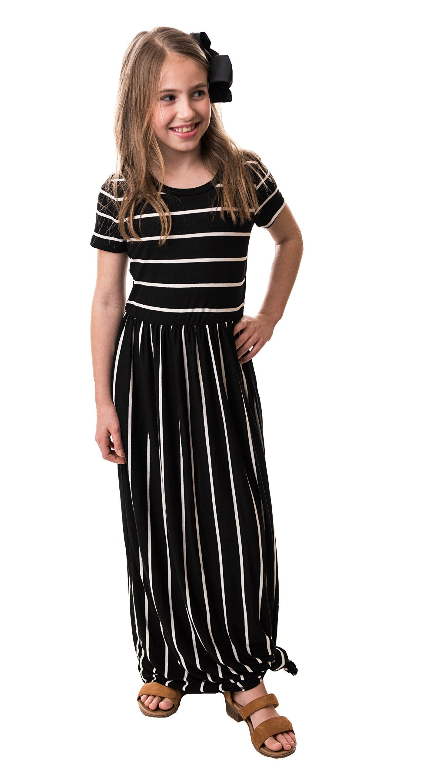 f0460ac1698 Chrome Classic Girls Brooklyn Striped Maxi Dress Made In The USA Black  XLarge -- Read