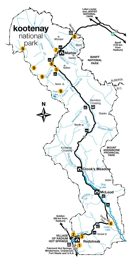 Map of Kootenay National Park  Parks Canada  Best Camping