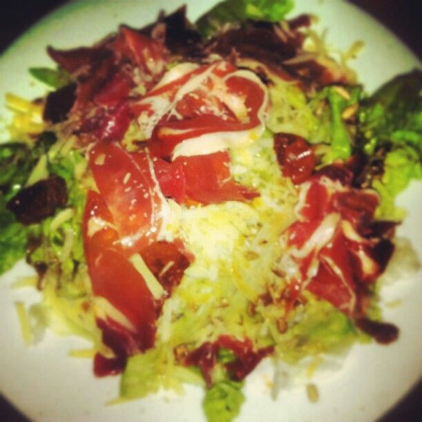 Delicious salad jamon crudo