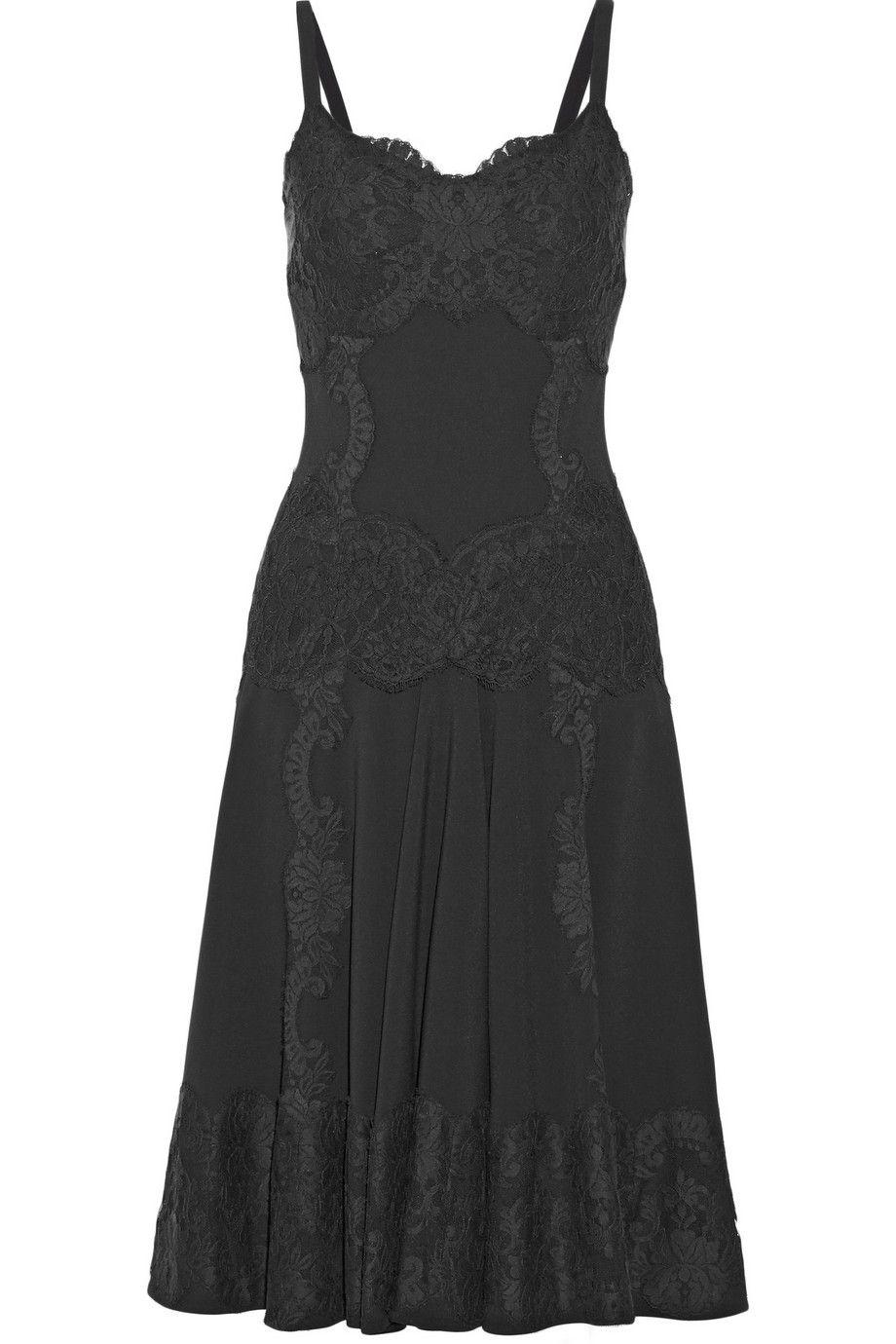 Dolce & Gabbana|Lace-appliquéd crepe dress|NET-A-PORTER.COM