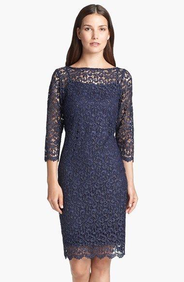 Marina Metallic Lace Sheath Dress Pakaian Kasual Pakaian Kasual