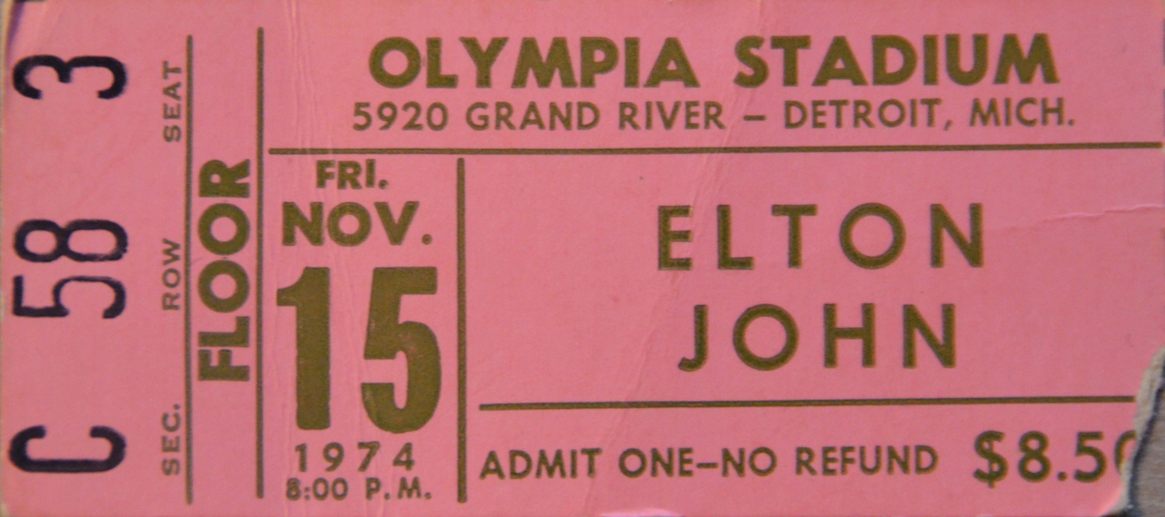 Elton John Olympia Stadium Detroit Night 3 Went To All Three Shows Though For Some Reason I Only Have The Stu Olympia Stadium Detroit Yellow Brick Road