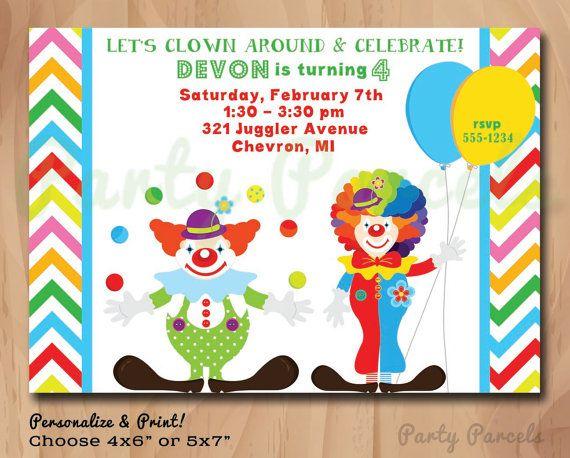 clowns personalized birthday invitation circus juggler