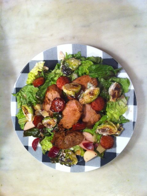 Saturday Night Special.....leftover pork tenderloin, kielbasa, roasted brussel sprouts, beets, and artichoke hearts on red lettuce in a Muscat Orange Vinaigrette.  Delish!