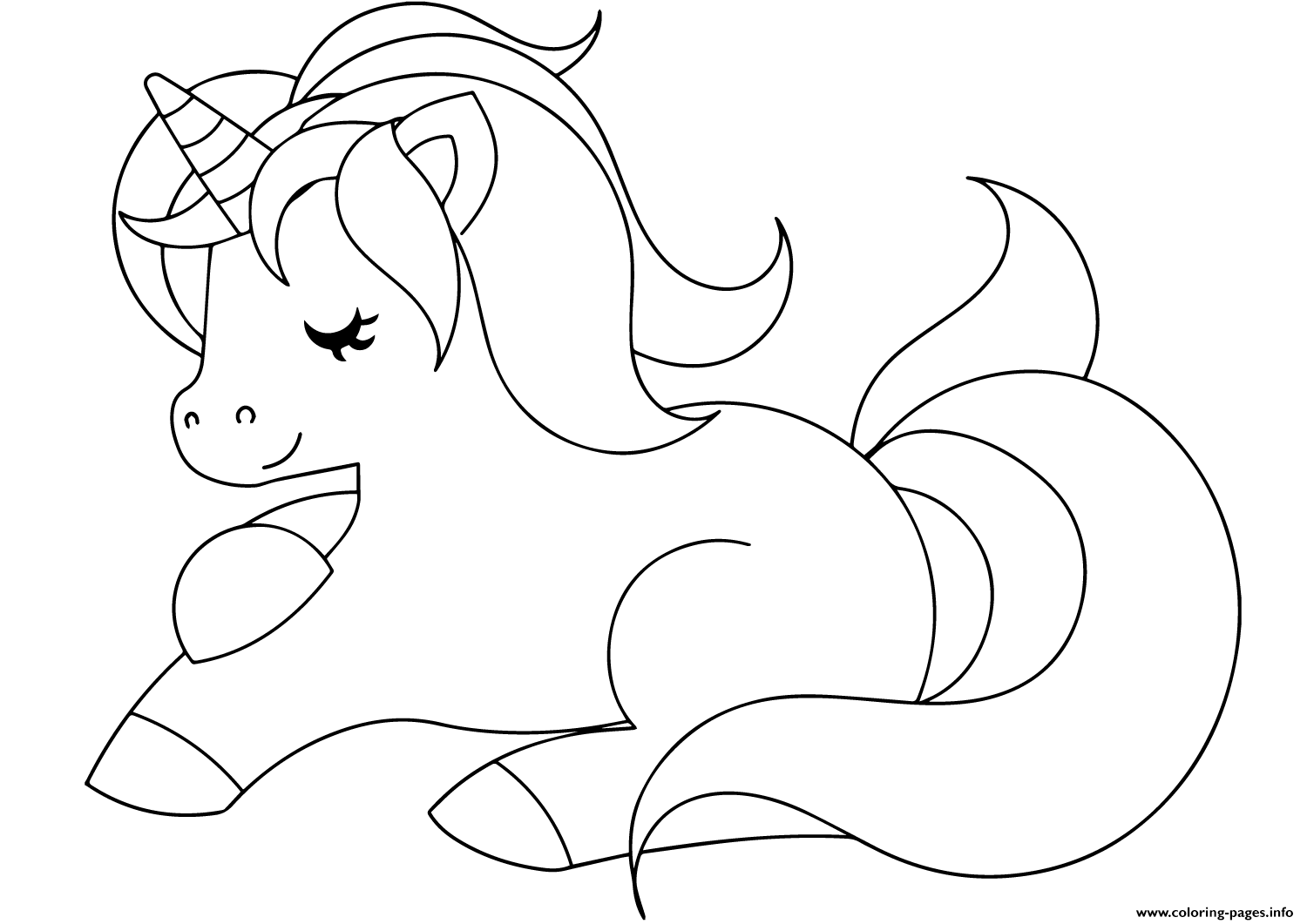 Print Cute Unicorn Sleeping Coloring Pages Unicorn Coloring
