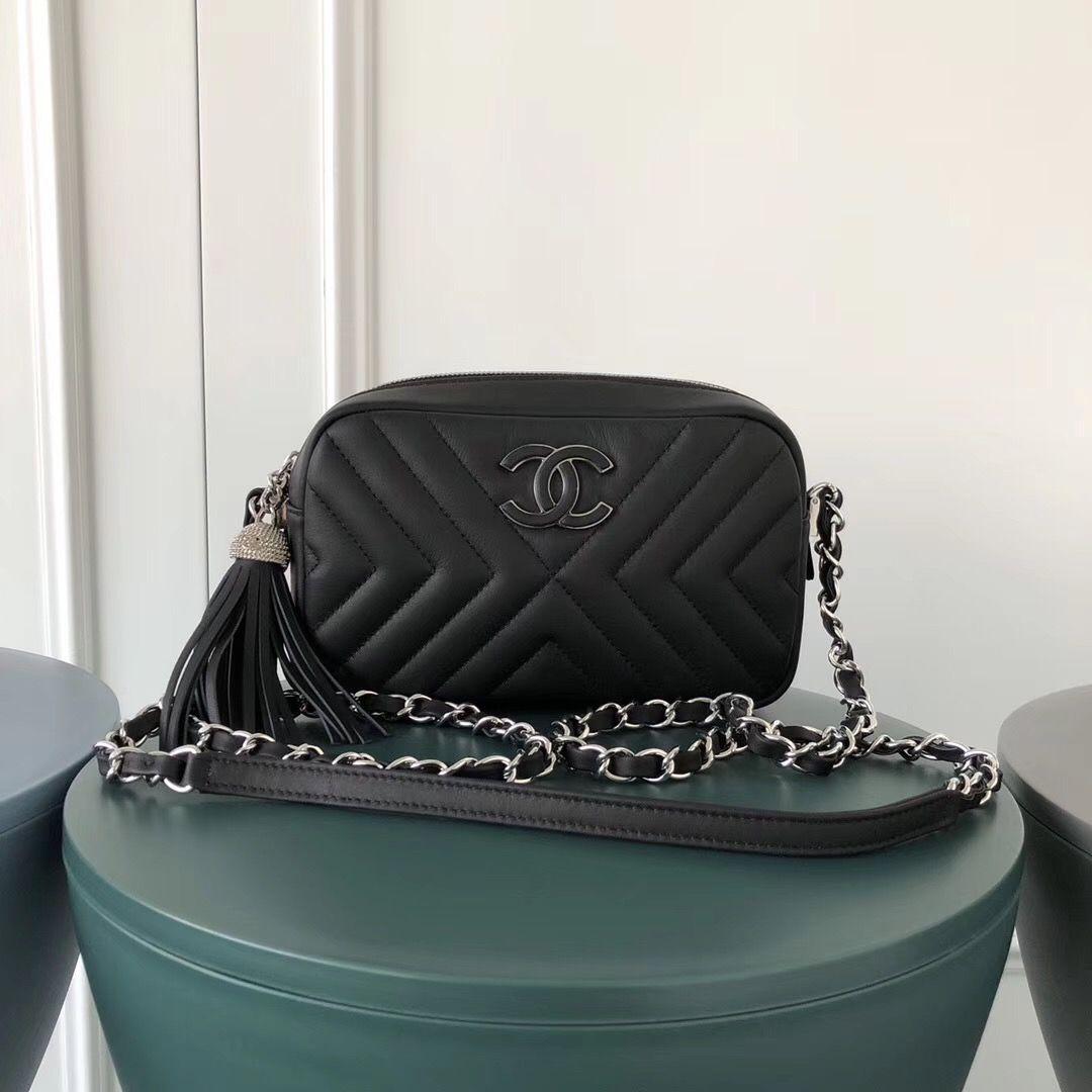 0b2b18771a49 Chanel Mini Diagonal Chevron Camera Case Black Chanel Bag Classic, Chanel  Mini, Chanel Boy