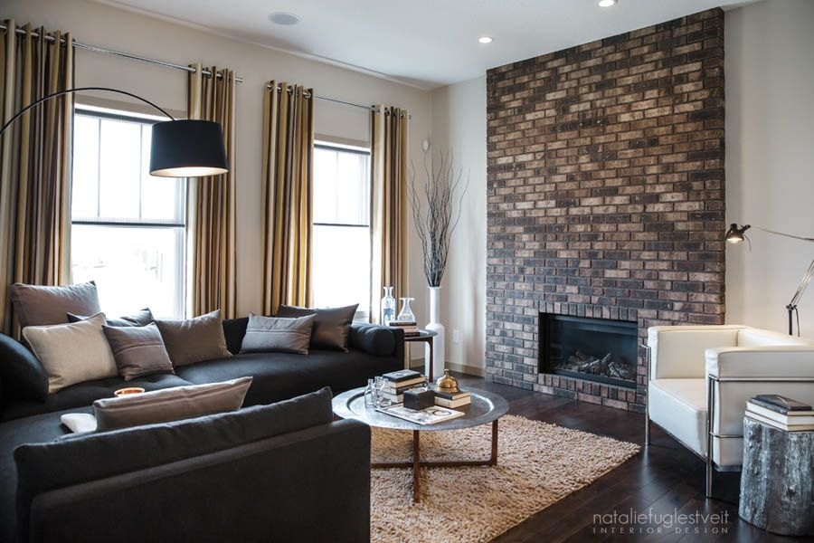 Stripes Brick & Metal Industrial Modern Living Room by Calgary