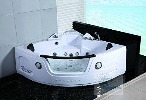 2 Person White Corner Bathtub With 29 Massage Jets Built In