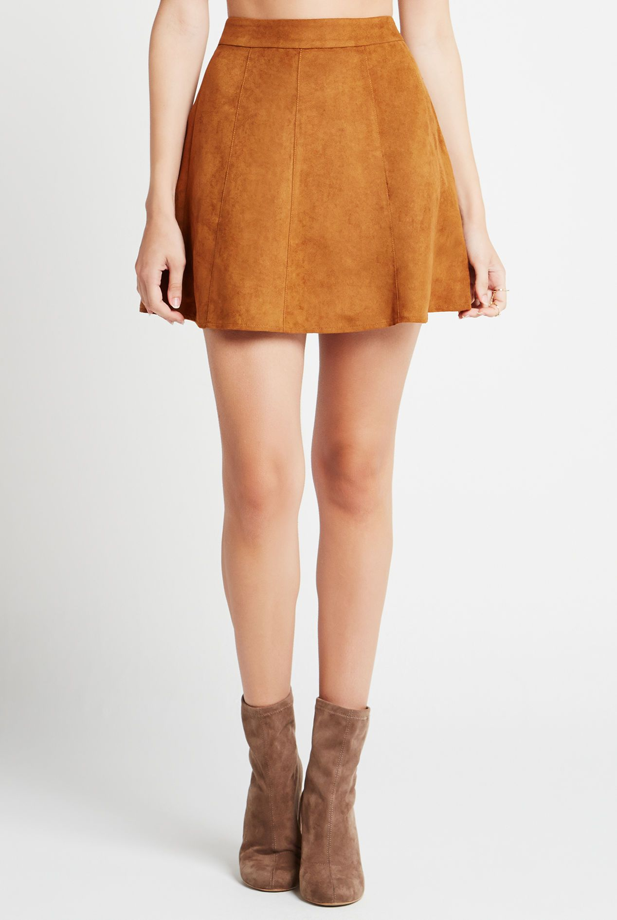 51dfcd3346 Cognac Faux Suede A-Line Skirt Can Be Styled and Navy or Burgundy Sweater  For A Cute Fall Look.