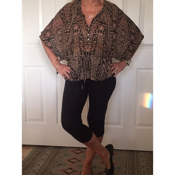 Willi Smith Sheer  top in brown and black .New Willi Smith  gorgeous Sheer peplum top  ,drawstring waist and exotic print , front opening with 3 buttons- it goes with anything, jeans, leggings , skirts- it is your turn to feel elegant, and cool  this summer - we love the wide sleeves making a statement in this gorgeous piece- perfect condition- worn once, small but will fit larger size Willi Smith Tops
