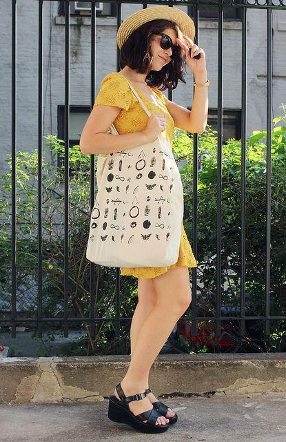 yellow dress + black Kork-Ease Ava wedges