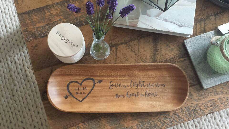 Personalized woodburned tray