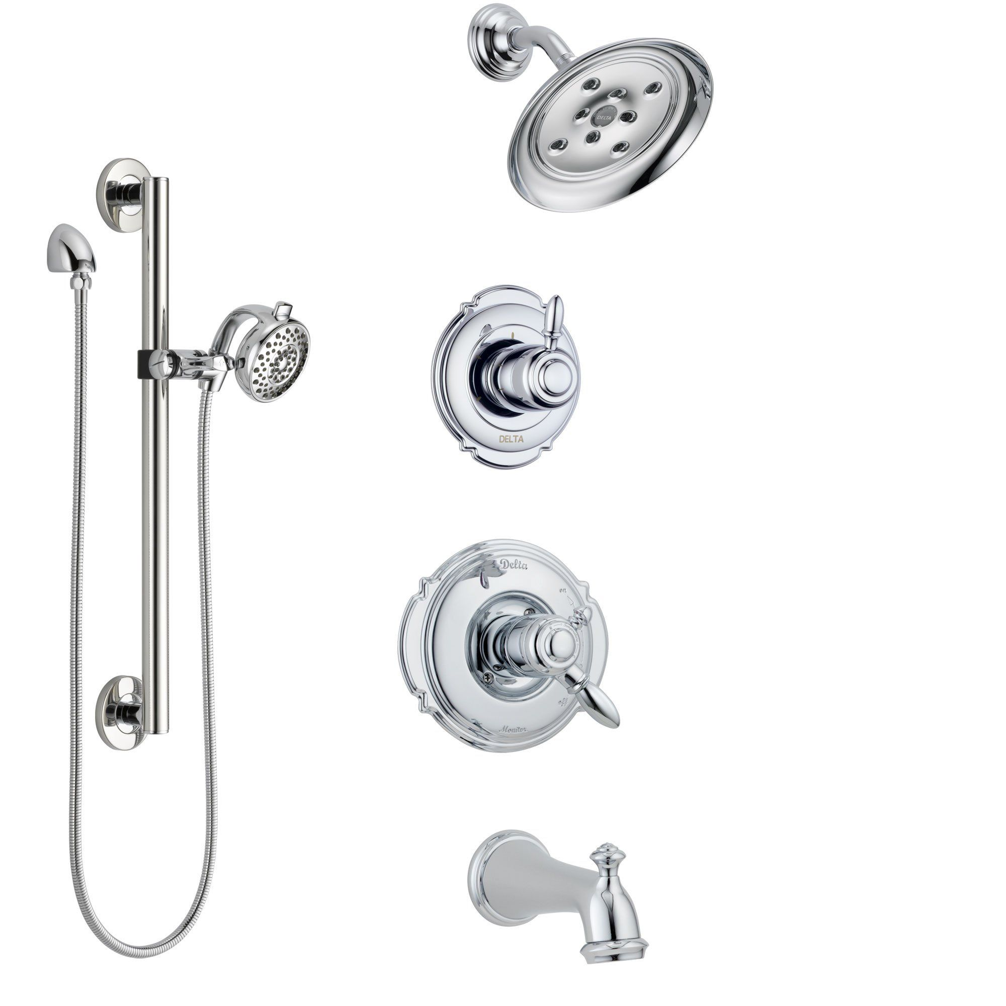 Delta Victorian Chrome Finish Tub And Shower System With Dual