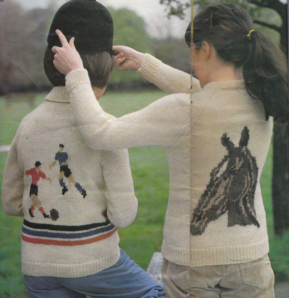 Vintage knitting pattern childrens football and horse motif vintage knitting pattern children s football and horse motif jumper 6 sizes bankloansurffo Images