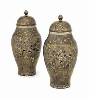 A Pair of Japanese Inlaid Iron Vases and Covers from the Komai Workshop