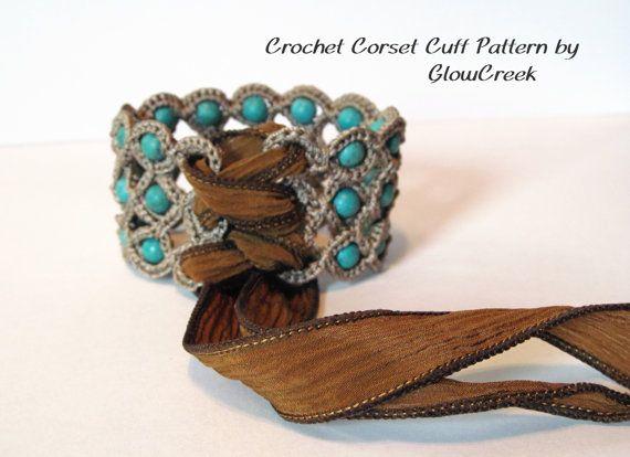 Crochet Pattern  Corset Cuff Bracelet Crochet Jewelry