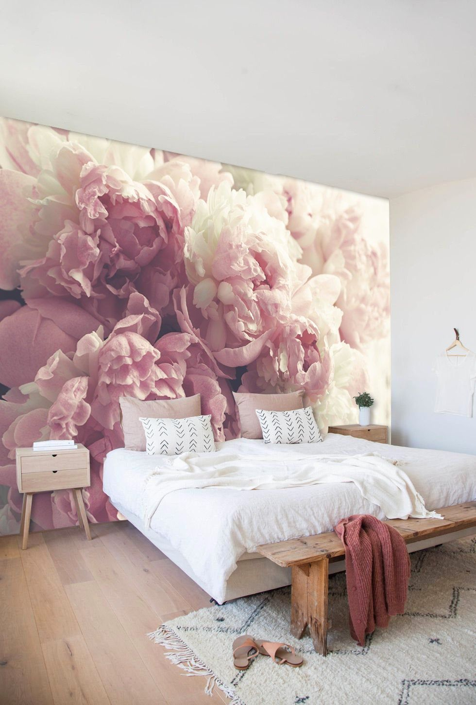Peony Floral Wall Mural in Pale Pink and OffWhite