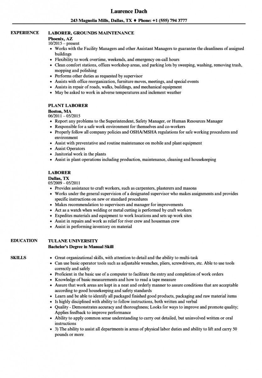 15 Fundamental Laborer Resume Resume Clean Resume Template Basic