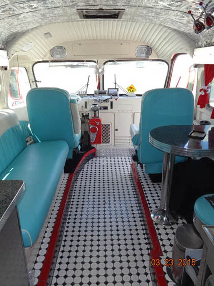1946 Flxible Bus Conversion With 50 S Diner Feel School Bus Rv Conversion Bus Conversion Bus Interior