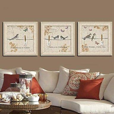 Animal Framed Canvas / Framed Set Wall Art,PVC Beige No Mat With ...