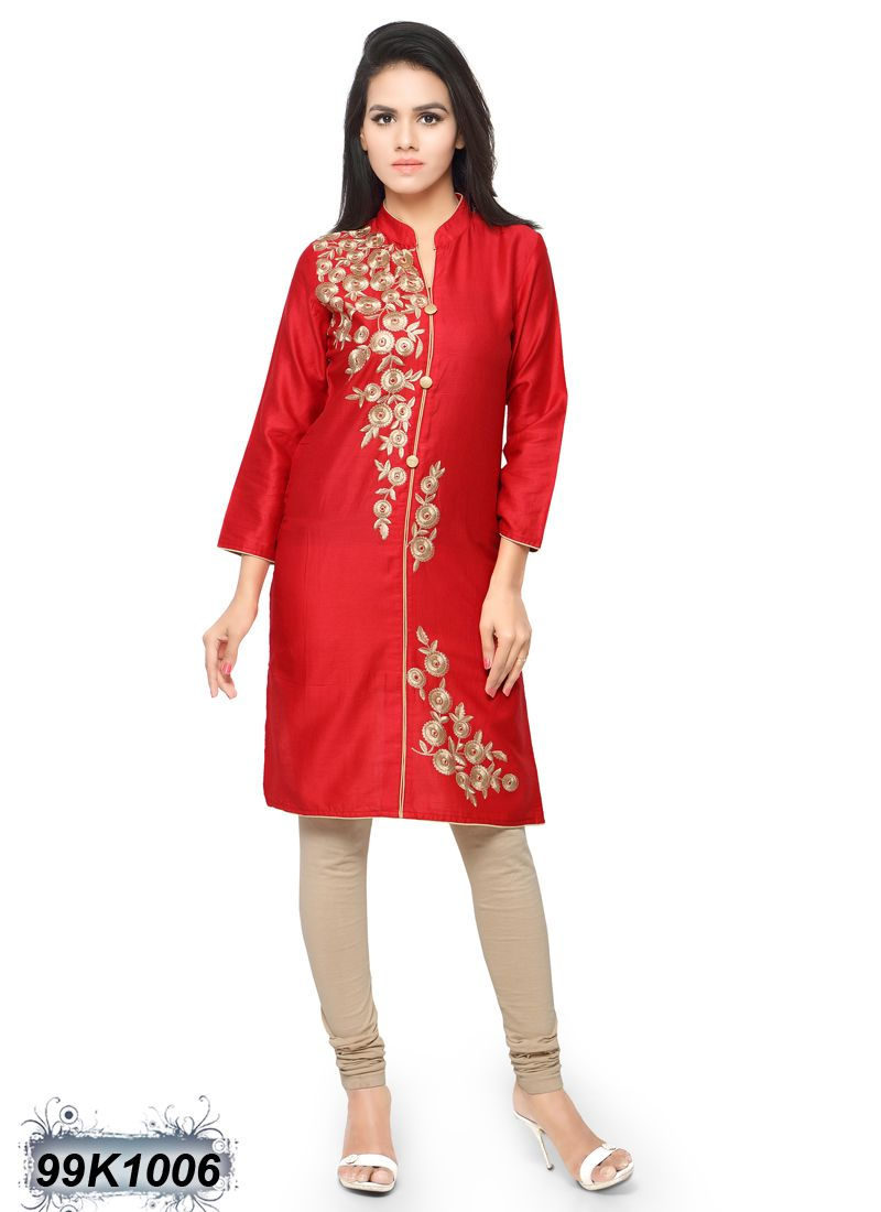 d8cda3c0ab2 Dynamic Red Coloured Glace Cotton Embroidered Kurti