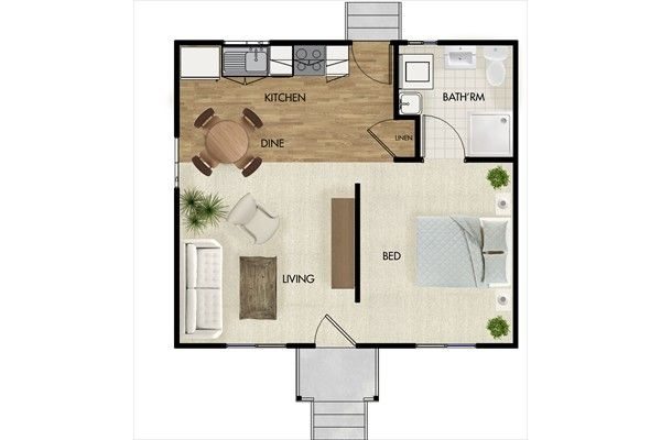 40sqm 1 Bedroom Granny Flat By Qld Nova Design Group 07 3385 0698 Granny Flat Plans Floor Plans Granny Flat