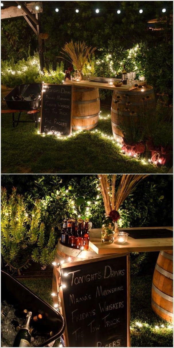 A Cool Wine Barrel Bar Simpleoutdoorparty Diy Aussenbar Dekor Hochzeit Partybeleuchtung