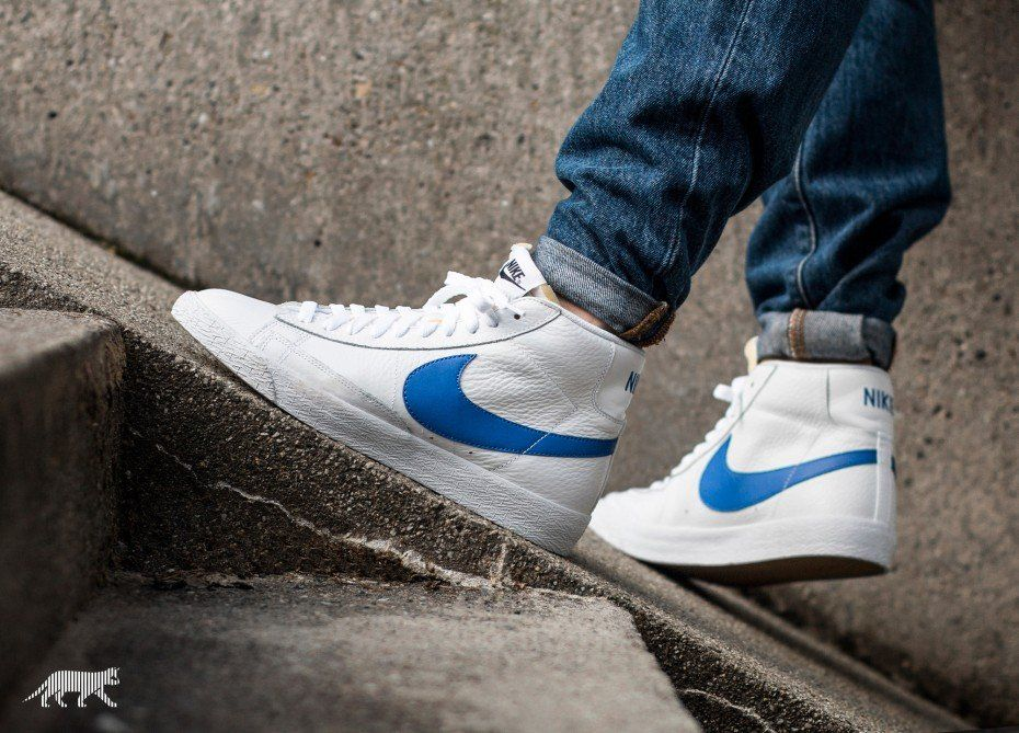 6588b233bf5 Nike Blazer Mid Retro (White   Game Royal - White)