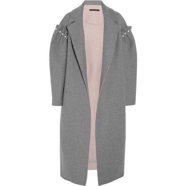 Mother of Pearl Mitchell oversized embellished bonded wool coat (17.835 ARS) ❤ liked on Polyvore featuring outerwear, coats, jackets, embellished coat, cinch coats, oversized cocoon coat, victorian wool coat and gray cocoon coat