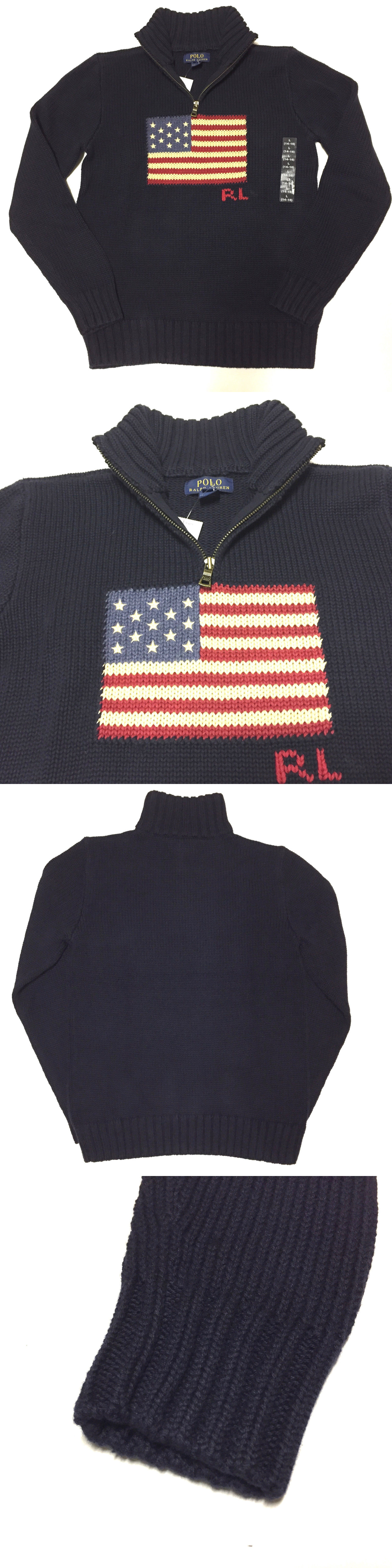 e5dc3e6687dc ... low cost sweatshirts and hoodies 57916 89 boys polo ralph lauren flag  sweater half zip blue ...