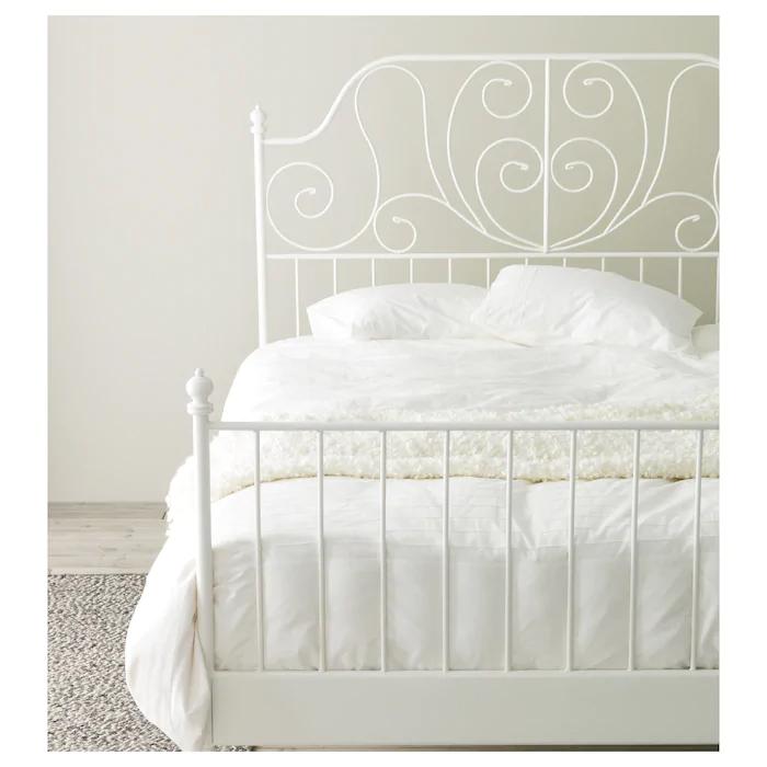 Leirvik Bed Frame White Luroy 140x200 Cm 55 1 8x78 3 4 In 2020 White Bed Frame Metal Bed Frame Leirvik Bed