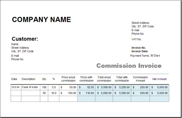 Ms Excel Consignment Invoice Template Excel Invoice Templates Invoice Template Invoice Sample Statement Template