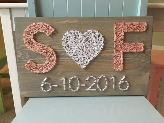 Photo of Wedding / Anniversary String Art Sign, Date Art, Wall Decor, Personalized Gift for Her, Wedding Gift,