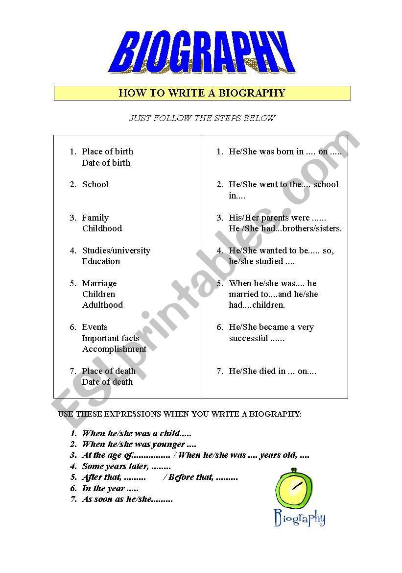 How To Write A Biography Worksheet In 2021 Writing A Biography Writing Biography [ 1169 x 821 Pixel ]