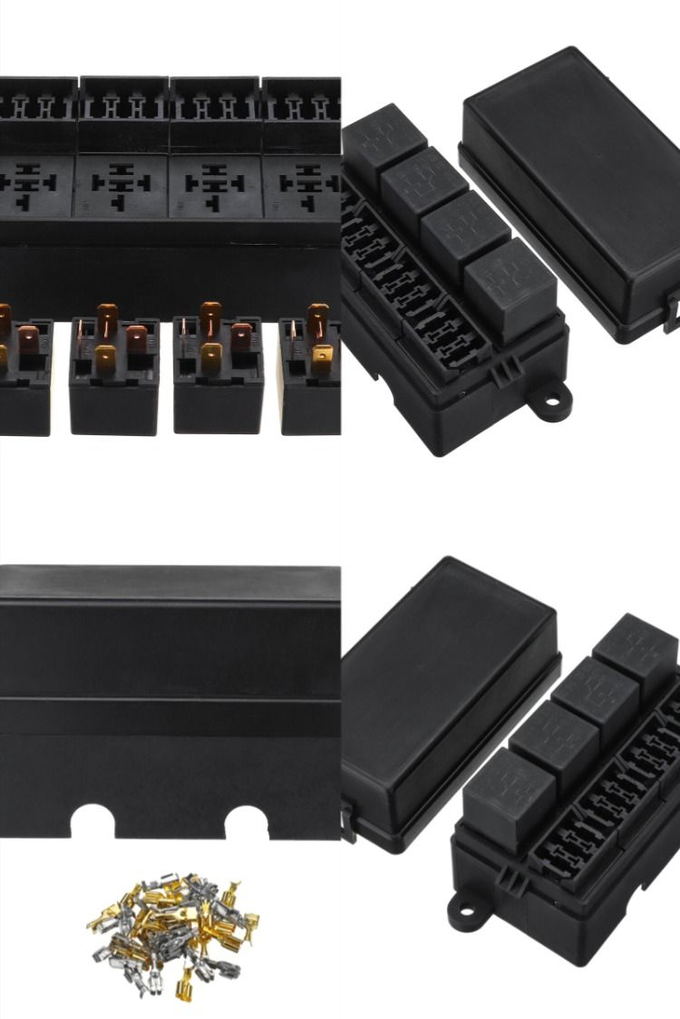 12v 80a 12 Way Blade Fuse 4 Way Relay Box Holder Assembly For Auto Car Rv Boat In 2020 Boat Supplies Boat Lights Boat