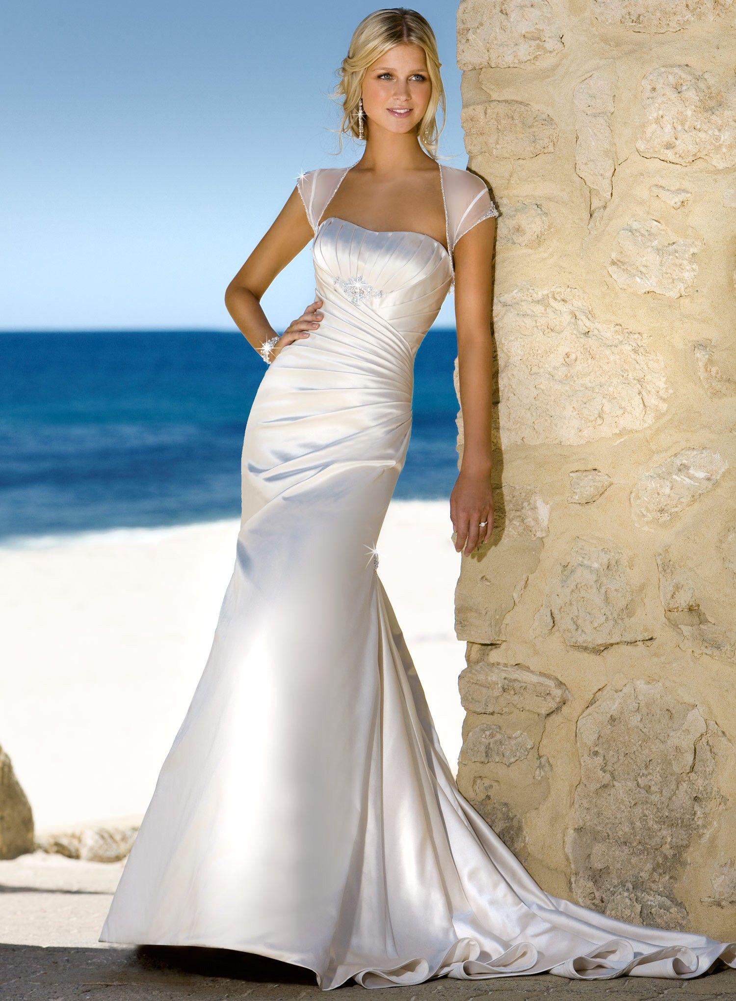 Angel Satin Aline Cap Sleeves Neckline Wedding Dress