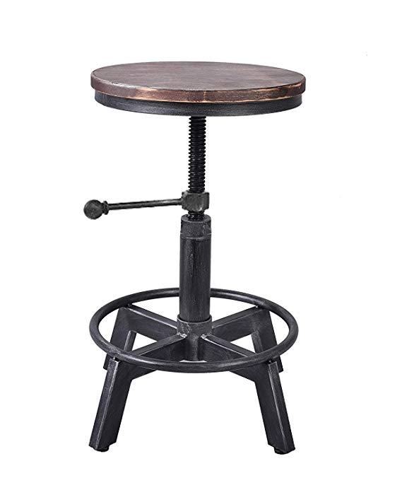 Amazon Com Lokkhan Vintage Industrial Swivel Stool Metal Design Wood Top Counter Height Adjustable Cas Metal Bar Stools Metal Wood Bar Stool Rustic Bar Stools