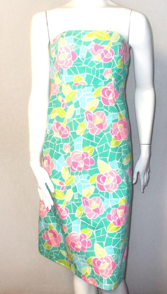 Lilly Pulitzer strapless dress 2 xs flowers print Mosaic 100% Cotton green pink #LillyPulitzer #Sundress #SummerBeach