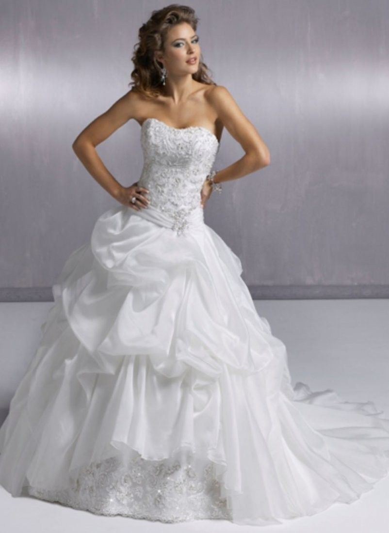 How much are wedding dresses  Click to Buy ucuc Princess strapless beading satin chapel train