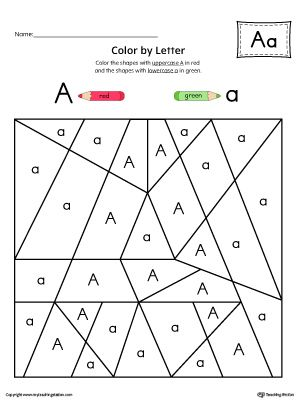 uppercase letter a color by letter worksheet worksheetfill your childs life - Color By Letter Printables